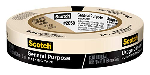 Scotch General Purpose Masking Tape, 0.94 inches by 60 yards, 2050, 1 roll