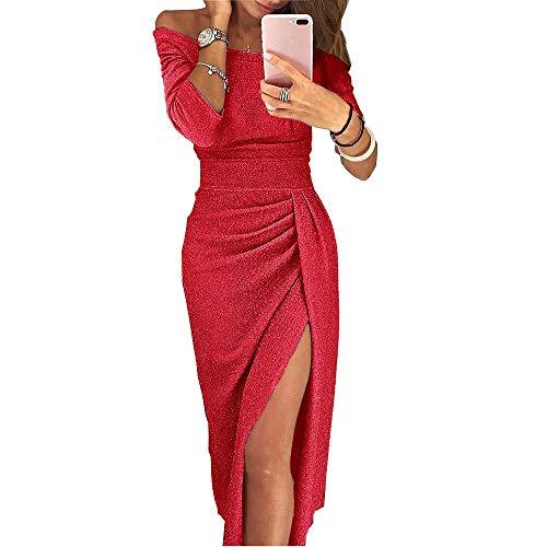 iMixCity Abito da Donna Senza Spalline Abito da Cocktail Lucente Abito da Max 3/4 Maniche (M, Rosso)