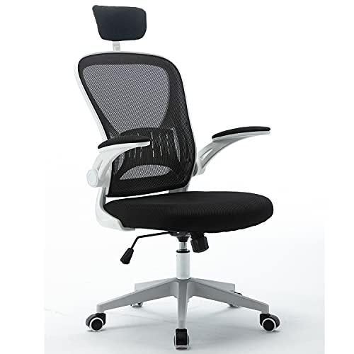 Sedia da ufficio, ergonomica, girevole con poggiatesta regolabile e braccioli pieghevoli, regolabile in altezza e funzione dondolo, schienale ampio, sedia da ufficio fino a 150 kg (bianco)