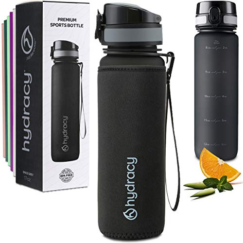 Hydracy 500ml Wasserflasche mit Infuser und Zeitmarkierung - BPA-Frei Auslaufsicher und Kondenswasserfrei - Ideal für Sport und Outdooraktivität - Space Greu