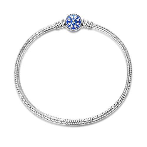 NINAQUEEN Armband Frauen entspricht Pandora Armband 21 CM Blau Schlange Geschenk für Frauen Silber 925 Zirkonia Schmuck Damen mit Schmuckkasten