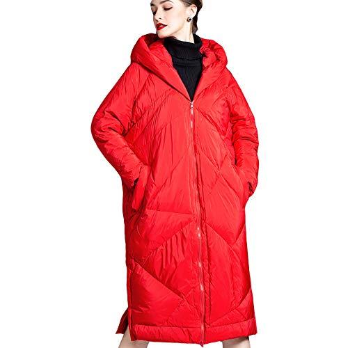 DUTUI Chaqueta de plumón de pato blanco de invierno para mujer, longitud media, gruesa, para hombre y mujer, cálida, adecuada para esquiar, color rojo, XL