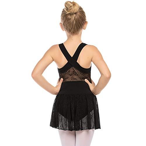 Zaclotre Girls Leotard Cross Back Lace Skirted Ballet Dance Tutu Dress Black 8-9
