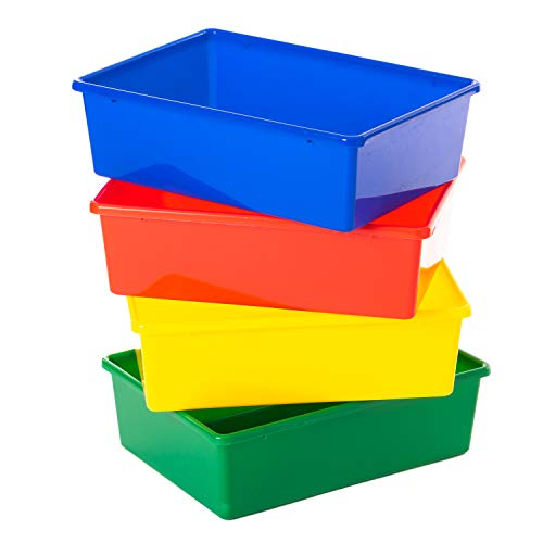 Gatton Design Primary Colours Plastic Storage Baskets/Boxes | Set of 4 | Great as Kitchen, Office & Home Storage Solutions | Perfect to Organise Kids Toys & Accessories | Keep Your Space Tidy (Large)