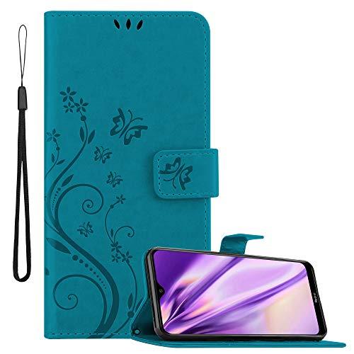 Cadorabo Hülle für Xiaomi Redmi 8a in FLORAL BLAU – Handyhülle im Blumen Design mit Magnetverschluss, Standfunktion & 3 Kartenfächern – Hülle Cover Schutzhülle Etui Tasche Book Klapp Style