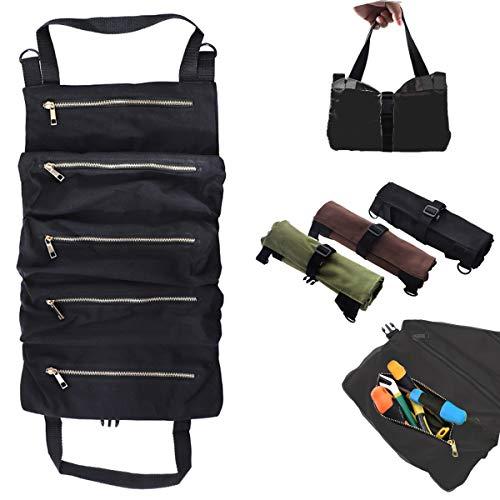 HunterBee Bolsa organizadora de rollos de herramientas práctica bolsa para llaves electrónicas lona 5 bolsillos con cremallera