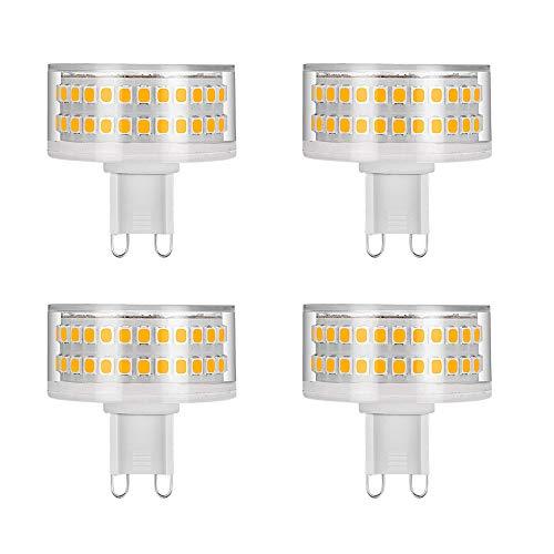 G9 9W LED-Glühlampen, flachrund, 88 LED-Chips, entspricht 80W Halogenlampen, 800LM, 3000K Warmweiß, 360 ° Abstrahlwinkel, AC 220-240V, nicht dimmbar, 4er-Pack