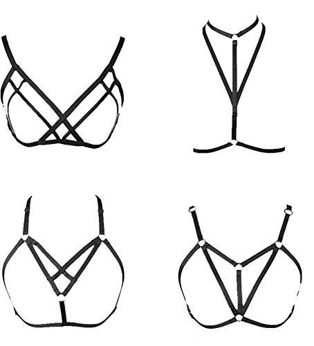 CASSIECA 4 Stücke Damen Harness Straps Aushöhlen Körper Cross Cage BH Cupless Dessous Bra Schwarz