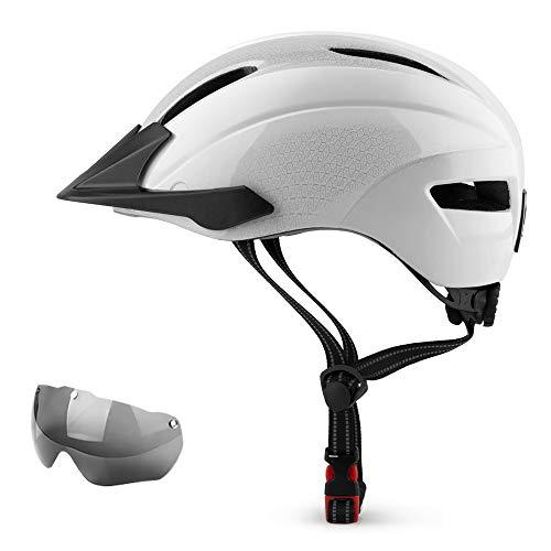 Adults Bike Helmet Bicycle Helmet for Adults Men Women,with Detachable Visor & LED Safety Light,Lightweight Mountain Road Helmets,Adjustable Size Recreational Cycling Helmet,Skateboard Helmets