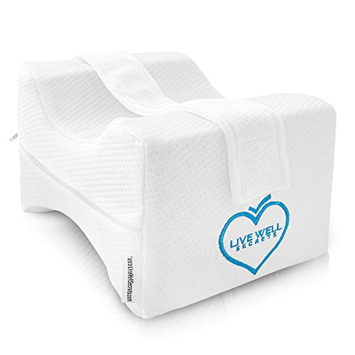 Live Well Secrets Orthopedic Knee Pillow The Best Engineered Knee and Body Pillow for Back, Knee, Pregnancy, and Sciatica Pain Relief. Comes with Storage Bag and Holding Strap