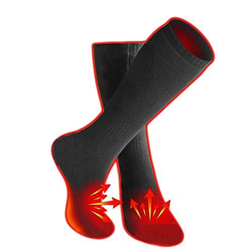 HWTOP Winter USB Thermostat Heizung Warme Socken Heizsocken für Männer Frauen Sneakersocken Motorrad Reiten Schuhe Stiefel Atmungsaktiv Schweißabsorbierend Universal Knee High Strümpfe, Schwarz