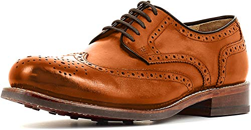 Gordon & Bros Levet 2318 Flex N Rahmengenähter Herren Derby Schnürhalbschuh, Full Brogue, Flexible Goodyear Welted Sohle, für Business, Freizeit Braun (British Tan), EU 46