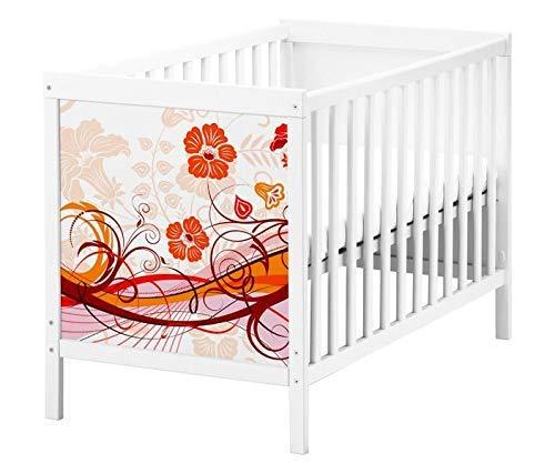Set Möbelaufkleber für Ikea SUNDVIK Babybett Blume Blumen Blumenranke Hintergrund Kat2 Muster rot SU1 Aufkleber Möbelfolie sticker (Ohne Möbel) Folie 25T2503