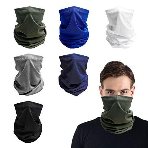 Multifunktionstuch, 6 Stück Atmungsaktiver Elastischer Halstuch, Unisex Waschbarer Sonnen UV Schutz Schlauchschal Balaclava Bandana für Angeln Motorradfahren Laufen