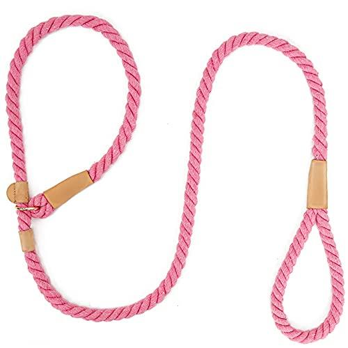 HLONGG Collar de Cuerda de algodón Multicolor para Entrenar Perros Grandes, Cuerda cómoda de tracción,Rosado