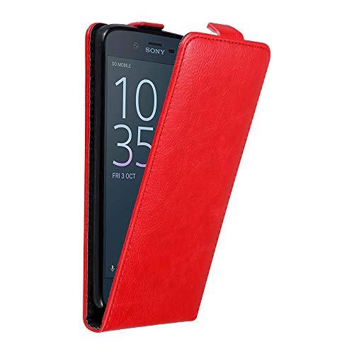 Cadorabo Hülle für Sony Xperia XZ/XZS in Apfel ROT - Handyhülle im Flip Design mit unsichtbarem Magnetverschluss - Hülle Cover Schutzhülle Etui Tasche Book Klapp Style