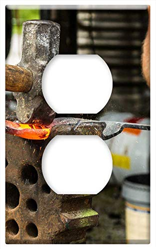 Switch Plate Outlet Cover - Forge Blacksmith Hammer Iron Fire Craft Embers