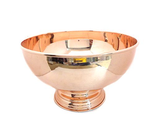"Copper Punch Bowl 12"" - 100% Pure Copper Punch Bowl (6 LITER CAPACITY) by Alchemade"