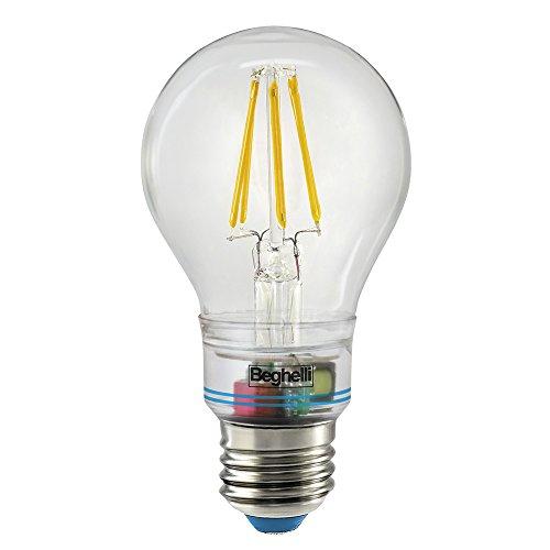 Beghelli Sorpresa Zafiro 6W E27 A++ Blanco cálido - Lámpara LED (Blanco cálido, Plata, Transparente, A++, 6 cm, 12 cm)