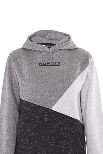 NOROZE Boys Hoodie Kids Contrast Fleece Sweatshirt Pullover Top (9-10 Years, Charcoal)