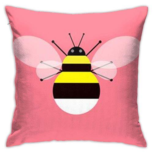 INGXIANGANCHI - Funda de almohada con cremallera y estampado de abeja amarilla de 45,7 cm (18 pulgadas) decorada para el hogar o el dormitorio