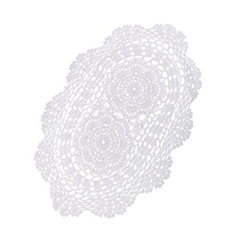 harayaa Tapete de Ganchillo a Mano de Encaje Blanco Ovalado Tapetes de Tapete de Floral Decorativo Artesanía