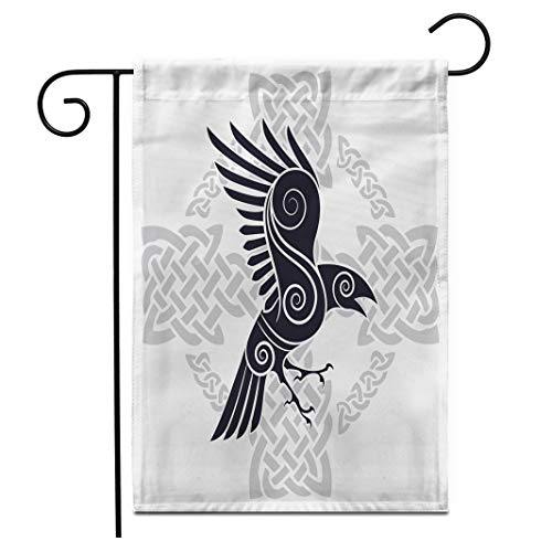 Adowyee 12'x 18' Garden Flag The Raven of Odin in a Celtic Style Patterned Celtic Cross is olated on White Outdoor Double Sided Decorative House Yard Flags