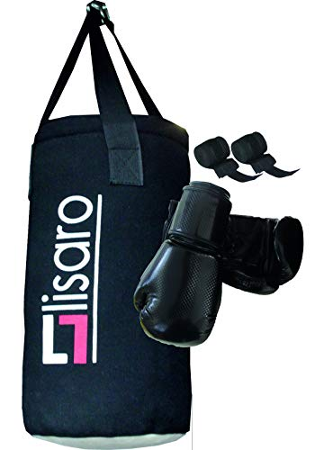 Lisaro Kinder Boxsack Sets (Boxsack + Boxhandschuhe+Boxbandage) Ca.5-kg Boxsack.50 X 20 cm, Farbe schwarz- Weiss