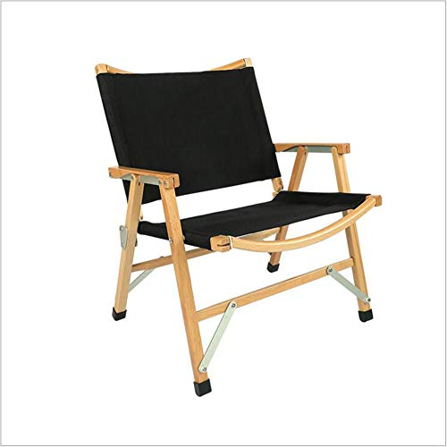 Yangyang Wooden Portable Folding Chair Outdoor Outing Sketching Fishing Barbecue Garden Courtyard Sun Lounger Chair,Black