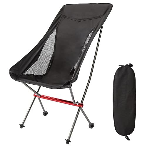 RoadWell Folding Camping High Back Backpacking Chair, Ultralight, Compact Portable Heavy Duty 330lbs for Outdoor, Camp, Beach, Picnic, Hiking Black