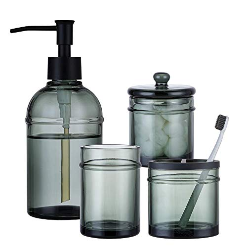 KMWARES Set of 4 Heavy Weight Decent Gray Thick Glass Bathroom Accessories-Includes Hand Soap Dispenser & Tumbler & Soap Dish & Toothbrush Holder