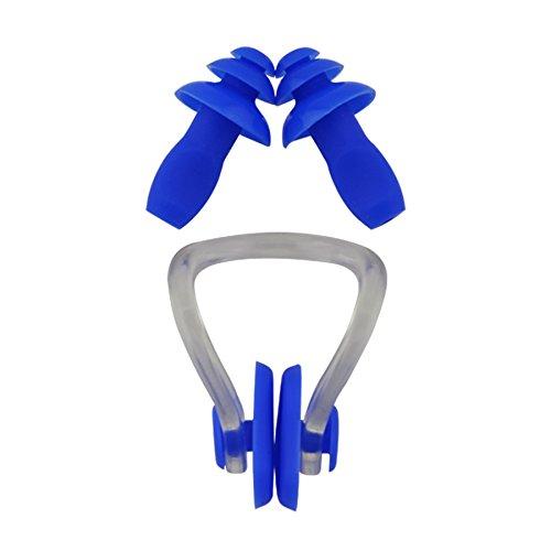#DoYourSwimming »Squeeze« stringinaso + Tappi per Le Orecchie, ergonomici e idonei per nasi e Orecchie di Tutte Le Forme. Il Silicone di qualità a Luna Durata/Blu