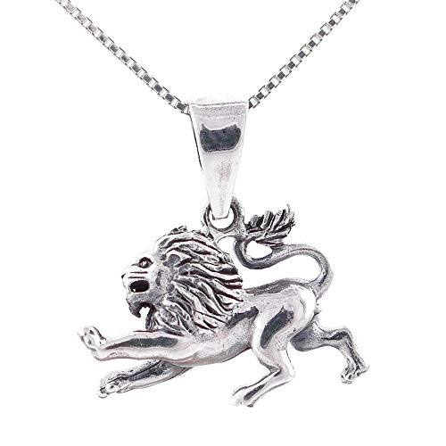 ARITZI - Collar Delicado de Plata Maciza 925 con Colgante de símbolo del horóscopo - Incluye una Cadena Box Chain en 45cm de Plata - Leo