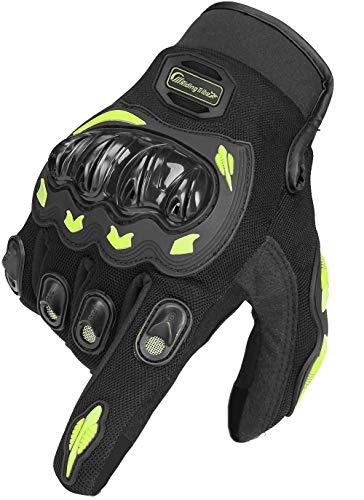 ARTOP Guantes Moto de Pantalla Táctil Guantes Motocross Verano Mujer Hombres Niño Tranpirable Guantes de Motocicleta(Verde Fluorescente,XL)
