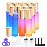 Essential Oil Roller Bottles 10ml by PrettyCare (12 Pack Rainbow Glass, Golden Cap, 24 Labels, 2 Extra Roller Balls, Opener, 2 Funnels) Roller Balls for Essential Oils, Roll on Bottles