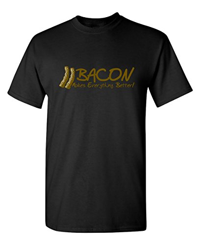 Bacon Makes Everything Better Graphic Novelty Sarcastic Funny T Shirt M Black