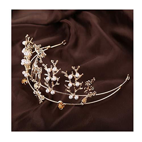 QFF Q Corona Rhinestone Accesorios para el Cabello Tocado de la Corona de la Boda joyería de Vacaciones de Boda F (Color : B)