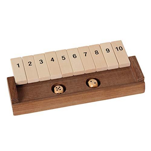 Bartl 100853 Klappenspiel, Shut The Box, Würfelspiel, hochwertige Ausführung aus Akazien- und Ahornholz, Made in Germany