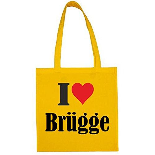 Tasche I Love Brügge Größe 38x42 Farbe Gelb Druck Schwarz