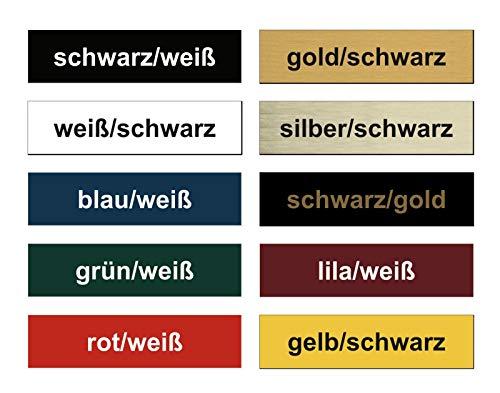 2x Klingelschild selbstklebend - Made in Germany - Briefkastenschild Briefkasten-Namensschild Türschild mit Gravur - Witterungsbeständig