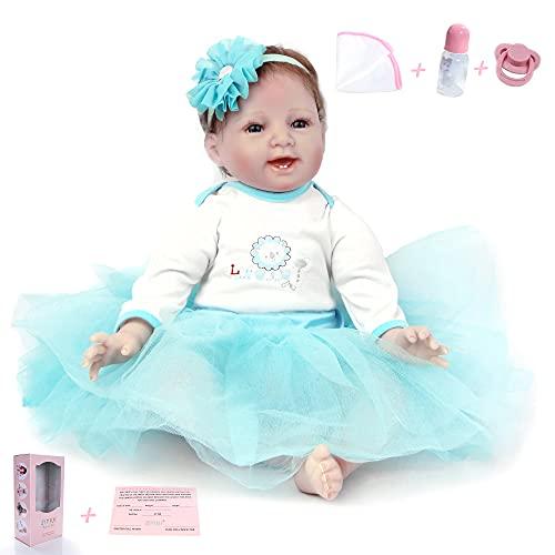 ZIYIUI 22 Pulgadas 55 cm Muñecos Bebé Reborn Niña Vinilo de Silicona Suave Realista Hecho a Mano Niña Recién Nacido para niños Mayores de 3 años Juguete