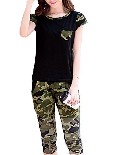 [モノア] ジャージ 上下セット レディース スウェット 半袖 シャツ 七分丈 パンツ 迷彩柄 部屋着 セット ブラック L