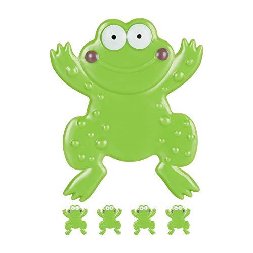 Relaxdays Badesticker 5er Set, Frosch-Design, mit Saugnapf, Kinder, Badewanne & Dusche, PVC, Anti Rutsch Sticker, grün, Kunstoff, 5 Stück