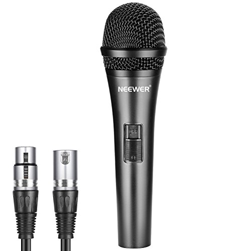 Neewer Cardioid Dynamic Microphone with XLR Male to XLR Female Cable, Rigid Metal Construction for Professional Musical Instrument Pickup, Vocals, Broadcasting, Speech, Black (NW-040)
