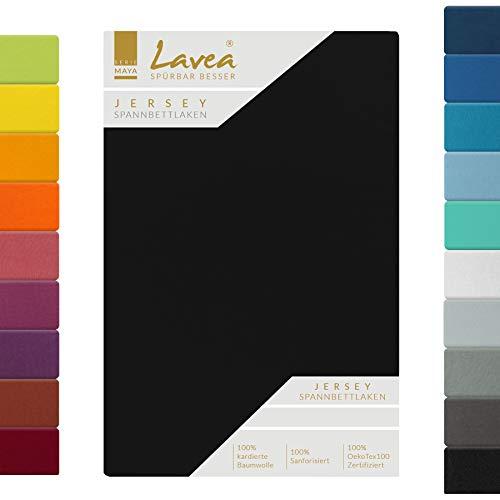 Lavea Jersey Spannbettlaken, Spannbetttuch, Serie Maya, 120x200cm, Schwarz, 100% Baumwolle, hochwertige Verarbeitung, mit Gummizug