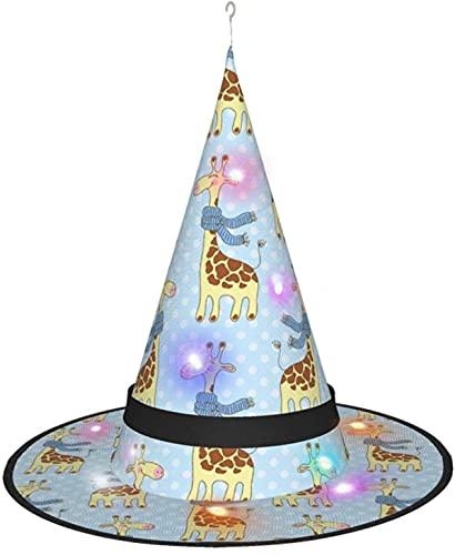 KINGAM Jirafa con bufanda y sombrero de bruja con luz, para disfraz de Halloween, fiesta de disfraces, cosplay y uso diario