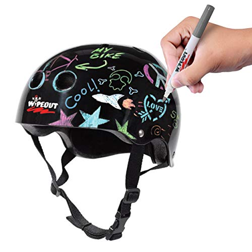 Buy Bargain Wipeout Dry Erase Kids Helmet for Bike, Skate, and Scooter, Black, Ages 8+