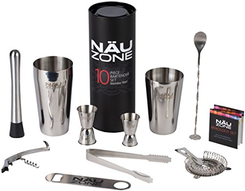 Professional Bartending Kit (10 Piece) |Bartending Kit Includes Elegant Stainless Steel Weighted Bottom Cocktail Shakers with Premium Bar Tools and Bar Set Accesssories | Deluxe Packaging