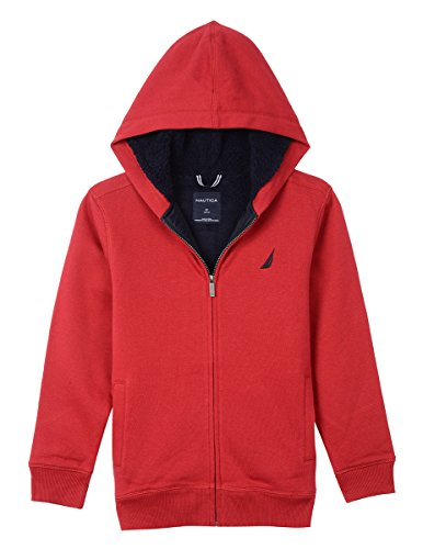 Nautica Boy's Little Sherpa Fleece Full Zip Hoodie, Expedition red Rouge, 5