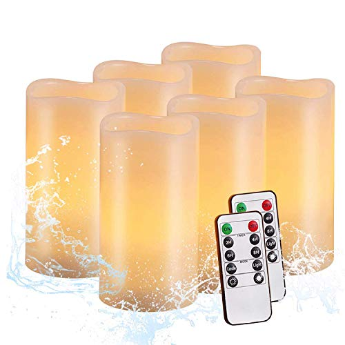 Flameless Candles,Salipt LED Flickering Candles Set of 6 (H 6' xD 3') Battery Operated Candles,Waterproof Flameless Candles, Resin Plastic, Indoor Outdoor Use, lvory White